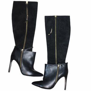 MARIA BROTONS Black Leather Knee High Heel Boots